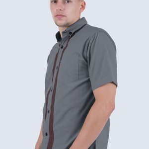 Kemeja Pendek Light Ray DarkGrey Brown