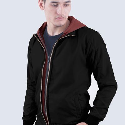 Jaket Parasut Fleece Dave Black Maroon