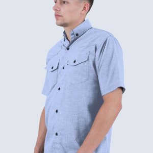 Kemeja Chambray Pendek Ramsey Light Blue