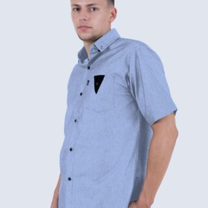 Kemeja Pendek Chambray The Ocean Light Blue