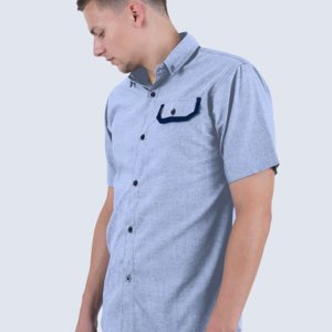Kemeja Pendek Chambray Larson Light Blue