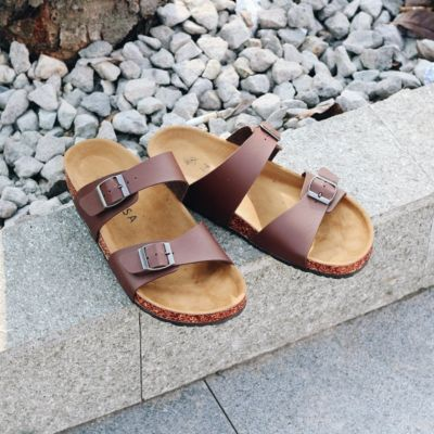 Sandal Flat Kasual Pria Xander Dark Brown