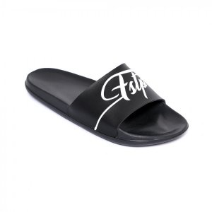 Sandal Selop flat slide retro 03 Black