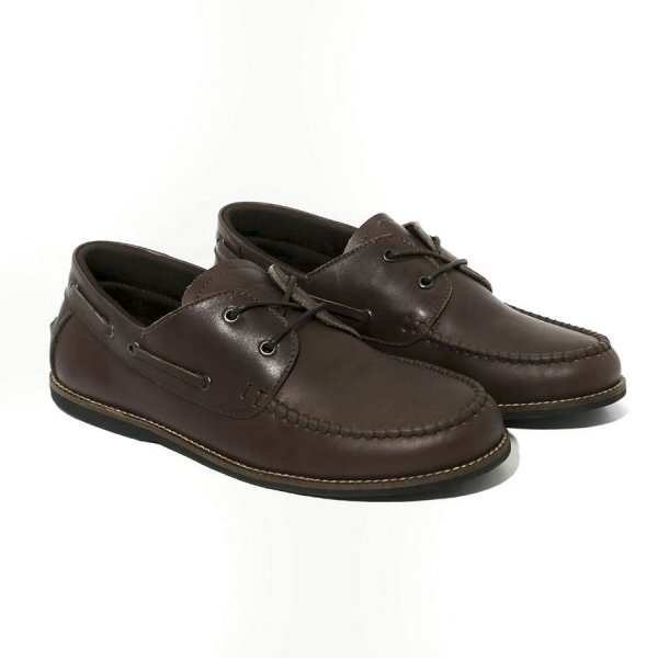 Sepatu Semi Formal Kulit Groove Brown