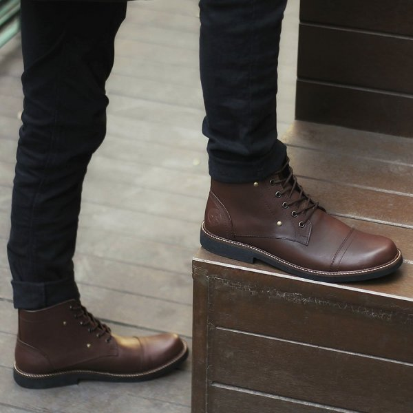 Sepatu Safety Boots Pria overture brown