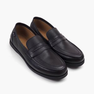 Sepatu Slipon Loafer Kulit Falseto Black