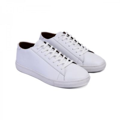 Sepatu kets sneakers kulit pria sanches white