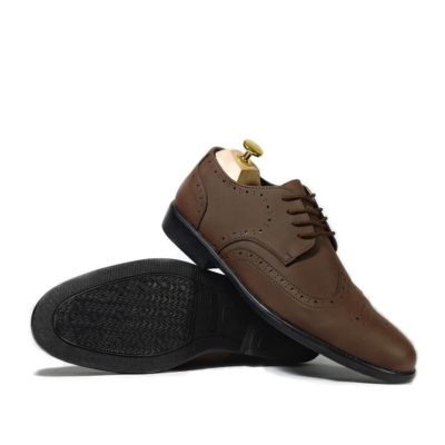 Sepatu formal pantofel Wingtip Worka Brown Doff