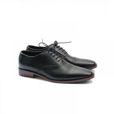 Sepatu Formal Pantofel Kulit Hitam Premium Barry Black Mix