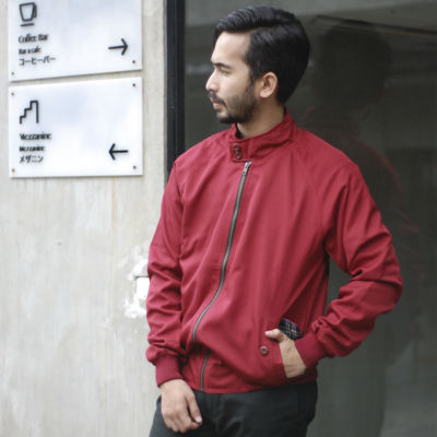 Jaket Kasual james harrington maroon