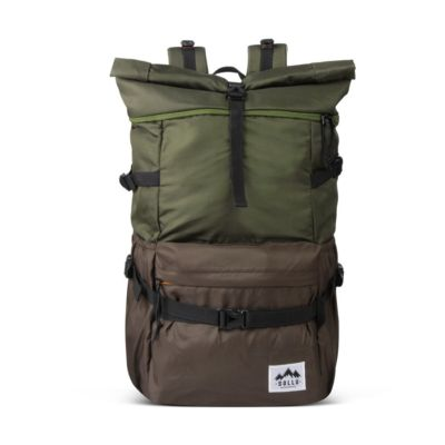 Tas Backpack Rolltop Savana Olive Brown