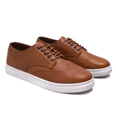 Sepatu kets sneakers wingtip Nelson Light Brown