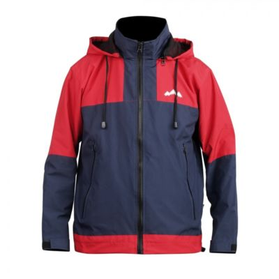 Jaket Gunung parasut windbreaker Zipper Two Red Navy