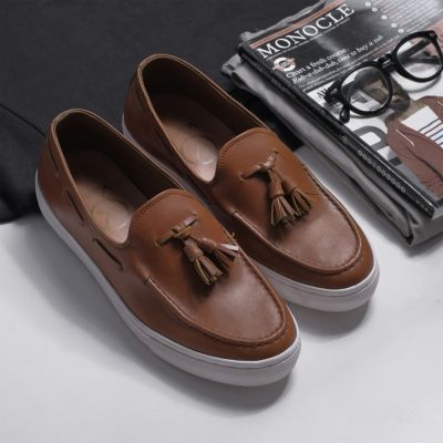 Sepatu sneakers casual kulit bill light brown